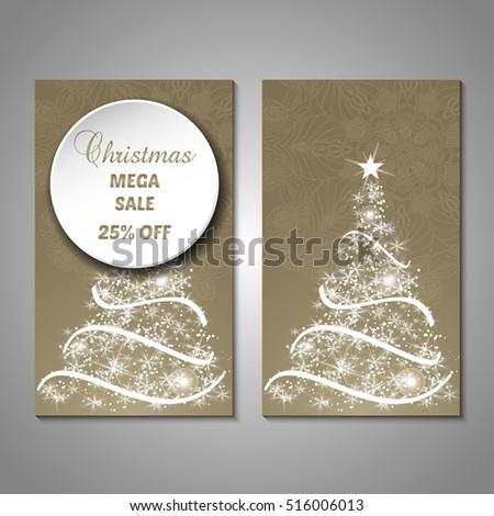Set Stylized Christmas Tree Invitation Flyer Stock Vector 516006013