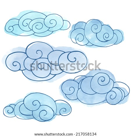 set of stylized clouds painted in watercolor, hand drawn vector illustration painted in blue watercolor, hand drawn design elements - stock vector