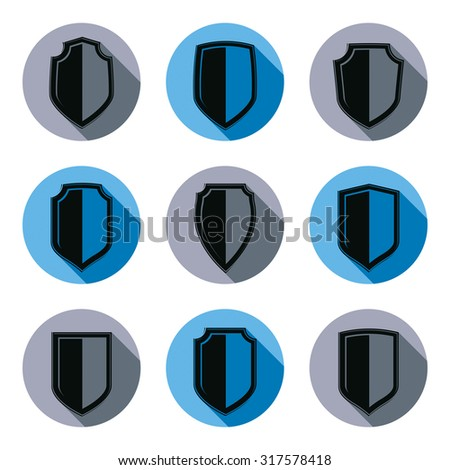Set of stylized coat of arms, decorative vector defense shields collection. Heraldic symbols, Protection and security idea. - stock vector