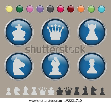 Set of stylized glossy chess on a brown background - stock vector