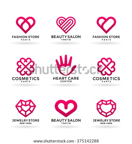 Set of stylized heart symbols and logo design elements (3) - stock vector