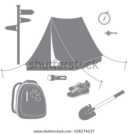 Set of stylized icons of tourist equipment and accessories on a white background
