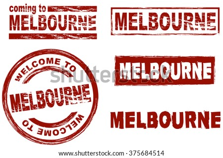 Set of stylized ink stamps showing the city of Melbourne - stock vector