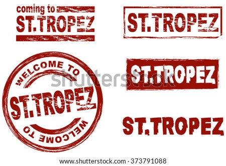 Set of stylized ink stamps showing the city of St. Tropez - stock vector