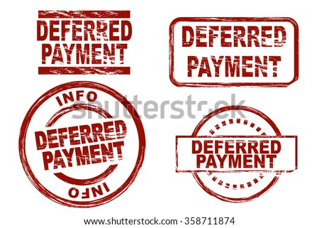 Set of stylized ink stamps showing the term deferred payment - stock vector
