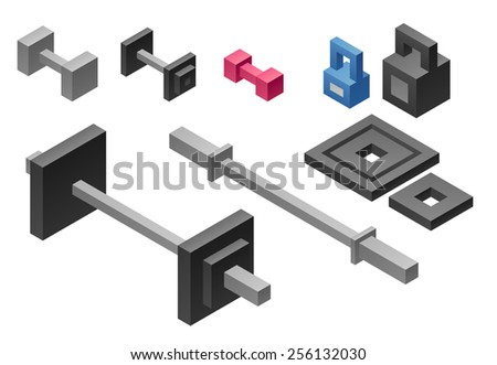 set of stylized isometric sport equipment isolated on white background