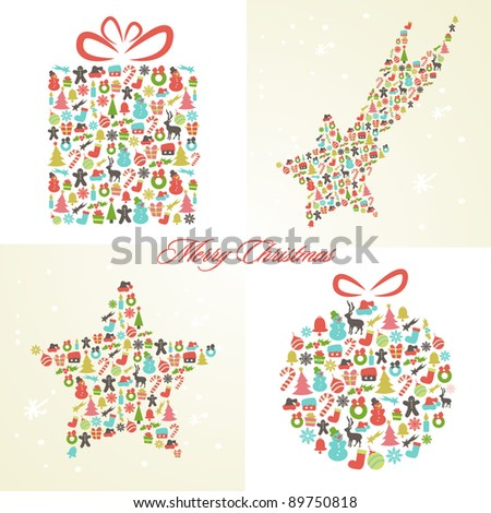 Set of Stylized Retro Background with Christmas Elements - stock vector