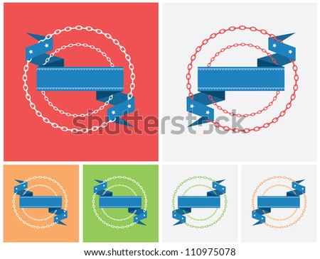 Set of stylized ribbon design elements with blank space for text - stock vector