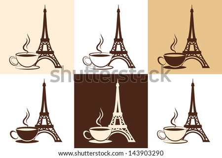 Set of stylized silhouette of the Eiffel Tower and a cup of coffee or tea on different backgrounds. Element of logo or corporate identity. Vector illustration. - stock vector