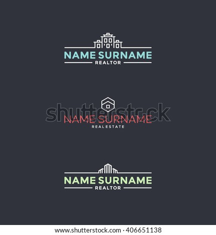 Set of stylized symbols for realtors, architects etc. Real estate logo design elements  - stock vector