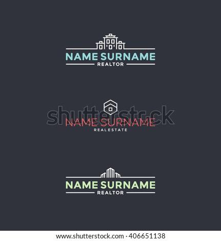 Set of stylized symbols for realtors, architects etc. Real estate logo design elements  - stock vector