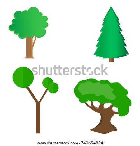 Set of stylized trees. Natural trees vector illustration.