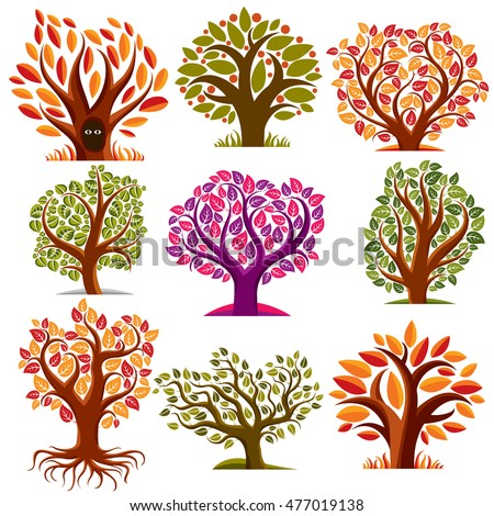 Set of stylized vector trees with green and orange leaves, ecology art decorative symbols collection. Two eyes of an animal looking from hollow, graphic design ecology symbol.