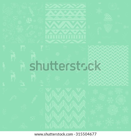 Set of 9 Subtle Colorful Xmas and New Year Doodle, Christmas Seamless Background Patterns. Hand Drawn Vector Illustration. Pattern Swatches