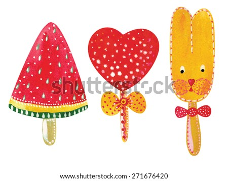 set of sugar candies. vector watercolor illustration - stock vector