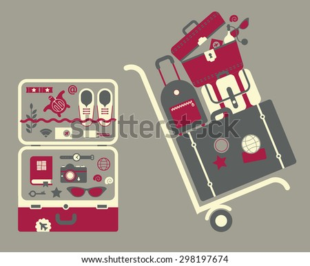 Set of suitcases and bags ready for the vacation. - stock vector