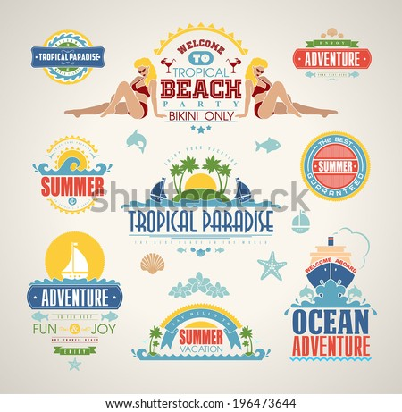 Set of Summer and travel design elements and typography design. Retro and vintage templates. Calligraphic ornaments, labels, badges, cards.  - stock vector