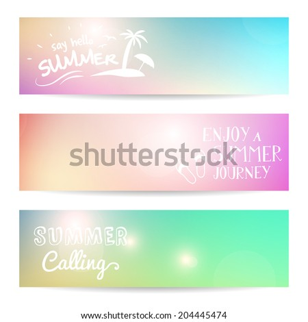 set of summer background vector banner. isolated. layered.