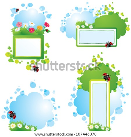 Set of summer backgrounds and frames with grass, flowers and ladybirds - stock vector