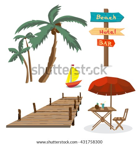 Set of summer beach objects. Summer Holidays. Palm trees, a wooden pier, a table with an umbrella, a wooden pointer, yacht