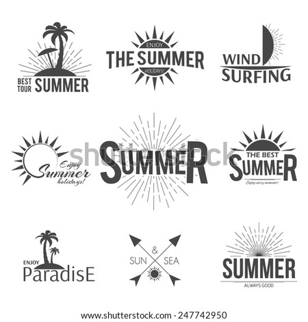 Set of summer emblems labels retro sun design - stock vector