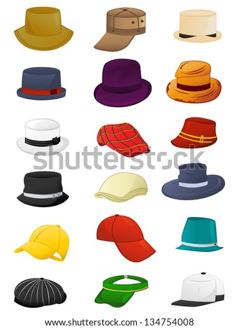 Set of summer hats for men isolated on white background - stock vector