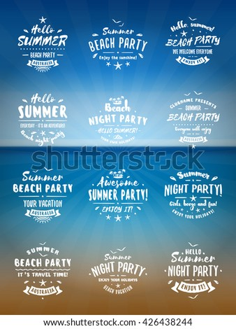 Set of Summer Holidays Design Elements. Beach Party Badges and Labels. White on Blue Ocean Background. Beach Vacation, Party, Journey, Camping - stock vector
