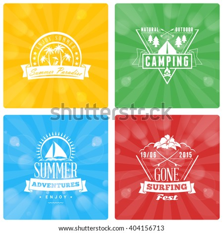 Set of Summer Holidays Design Elements on Colorful Background. Beach Vacation, Party, Journey, Camping