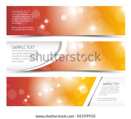 Set of summer horizontal banners - with place for your text - stock vector