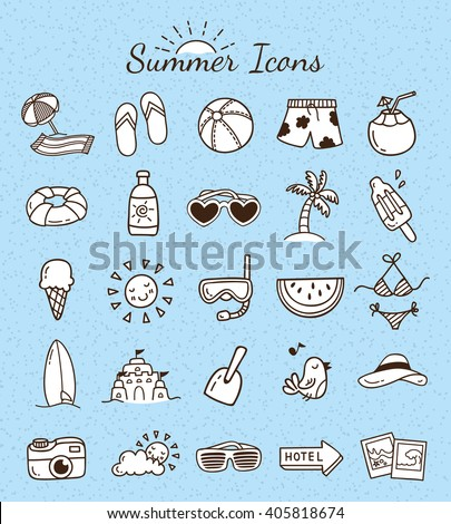 Set of summer icon doodle - stock vector