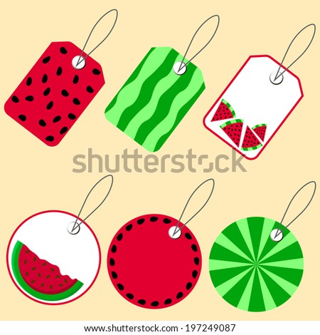 Set of summer price tags and labels with watermelon. Here you can write the price, promotions, discounts. Vector illustration. Abstract pattern.