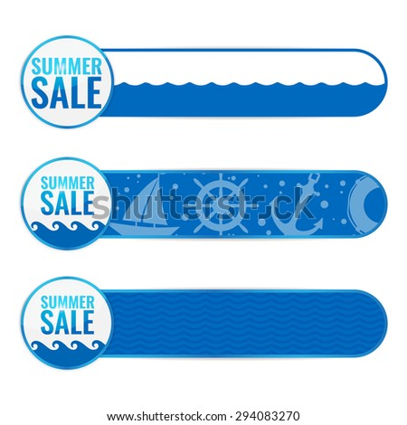 Set of summer sale banners. Nautical labels. Vector illustration. - stock vector