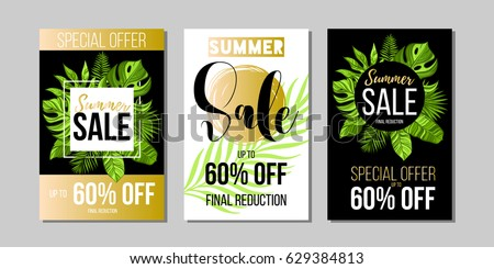 Set of summer sale banners, posters with tropical leaves, summer sale trendy design, vector illustration