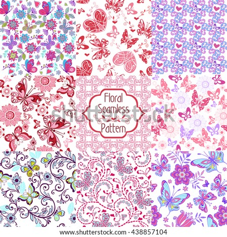 Set of summer seamless floral ornament. Set of floral seamless patterns with pink, blue butterflies and hearts. Decorative ornament backdrop for fabric, textile, wrapping paper. - stock vector
