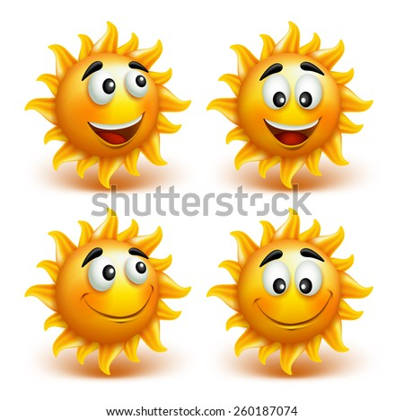 Set of Summer Sun Face with Happy Smile. Vector Illustration - stock vector