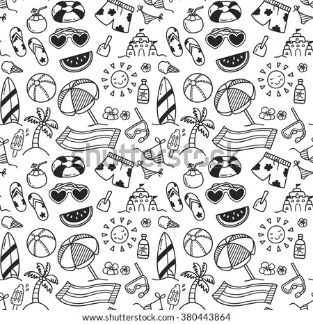 set of summer themed seamless background in doodle style - stock vector