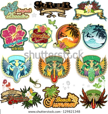Set of summer themed stickers with space for insert-written various levels-transparency blending effects and gradient mesh-EPS 10 - stock vector
