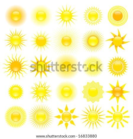 set of sun - stock vector