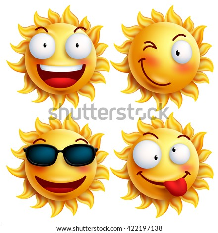 Set of sun character with funny facial expressions in glossy 3D realistic for summer isolated in white background. Vector illustration  - stock vector