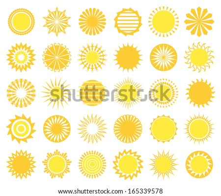Set of sun icons isolated on white background. Vector illustration. - stock vector