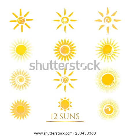 Set of Sun icons. Sun vector illustrations. Business sign or product labeling element templates part of corporate identity. Simple & detailed Sun icons. Vector design is layered & editable. - stock vector