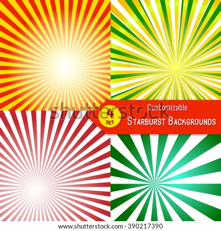 Set of sunburst backgrounds. Abstract sun rays. Collection of orange, red, green and yellow vector rays. Set of sunburst retro textures - stock vector