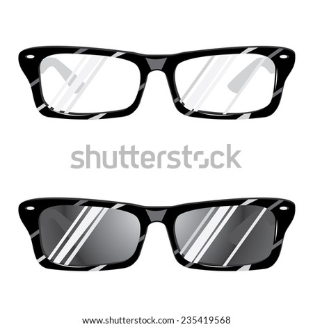 Set of sunglasses and eyeglasses on white background.