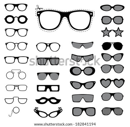 Set of sunglasses and glasses. Vector illustration.  - stock vector