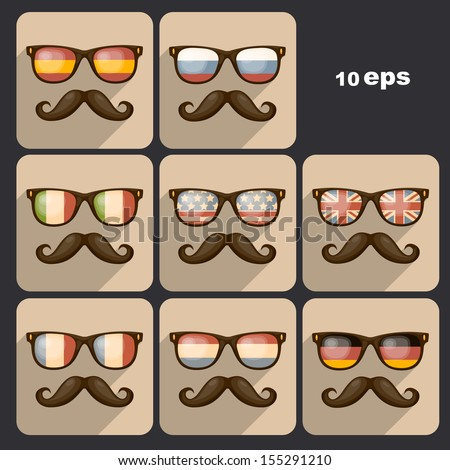 Set of sunglasses. Vector illustration - stock vector