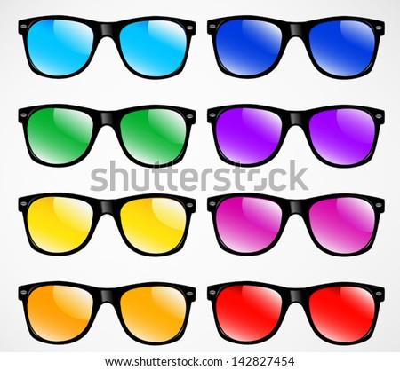 set of sunglasses vector illustration background - stock vector