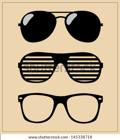 Set of Sunglasses. Vector Illustration Background. Sunglasses Hipster. Sunglasses Template. - stock vector