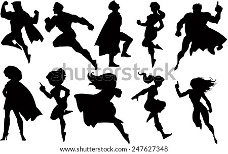 Set of superhero black silhouettes