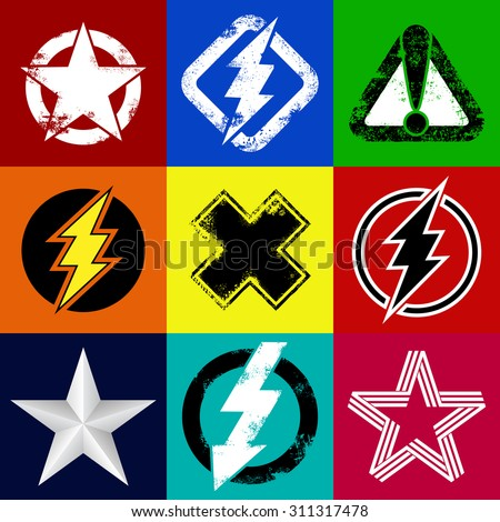 Set of superhero signs