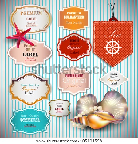 Set of Superior Quality and Satisfaction Guarantee Badges, Labels, Tags with shells and place for text. Retro vintage style. - stock vector